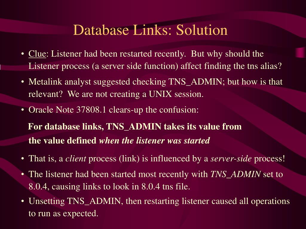 Database Links: Solution