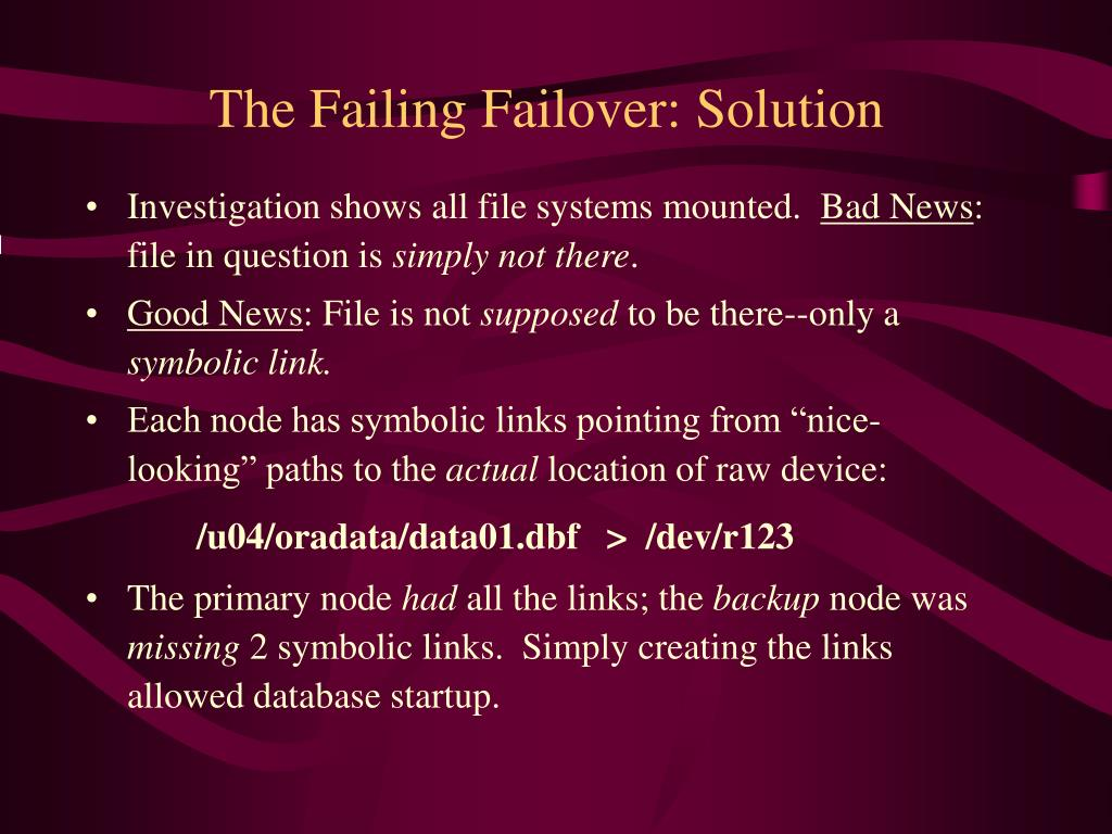 The Failing Failover: Solution