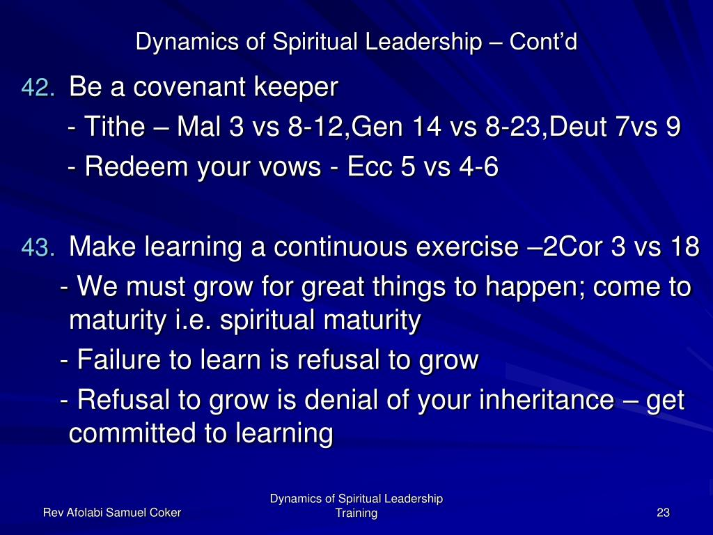 spiritual leadership Spiritual leadership (moving people on to god's agenda) by henry & richard blackaby outlined by jeffrey pearson lead pastor, the bridge preface.