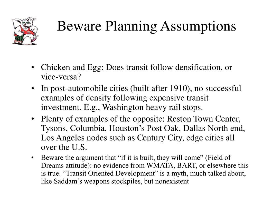 Beware Planning Assumptions