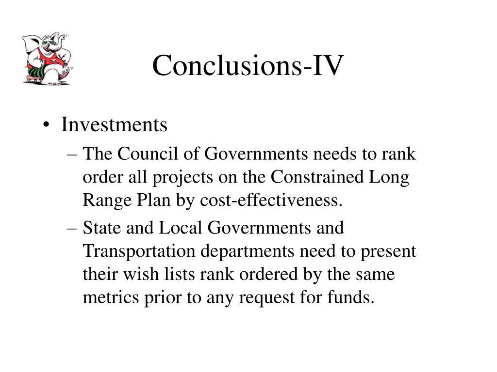 Conclusions-IV