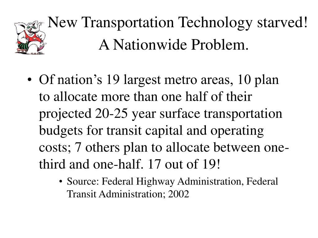 New Transportation Technology starved! A Nationwide Problem.