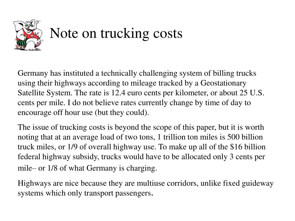 Note on trucking costs