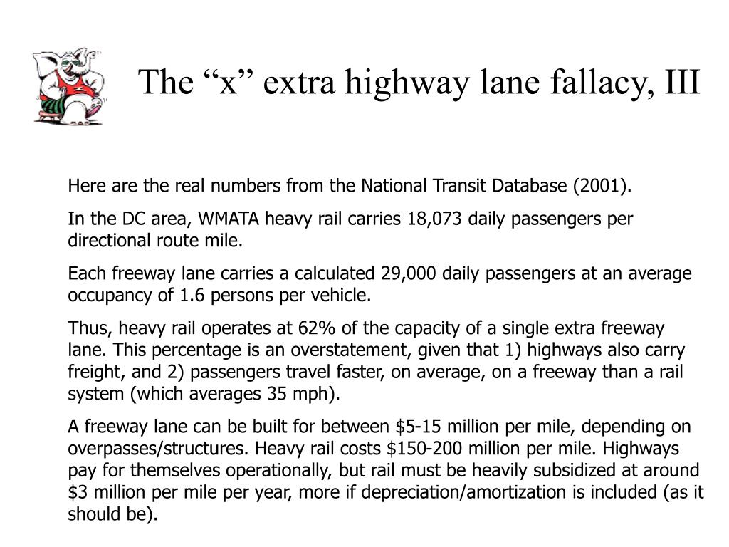"The ""x"" extra highway lane fallacy, III"
