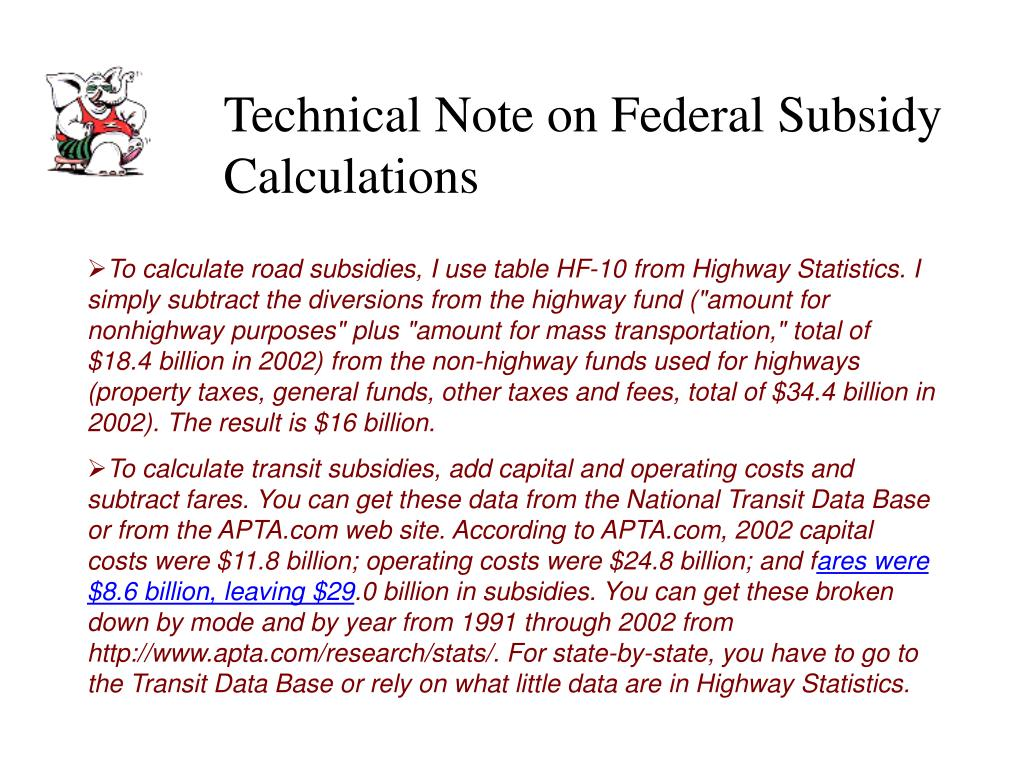Technical Note on Federal Subsidy Calculations