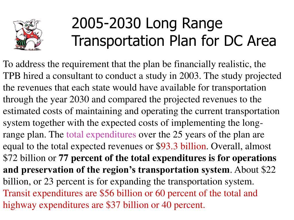2005-2030 Long Range Transportation Plan for DC Area
