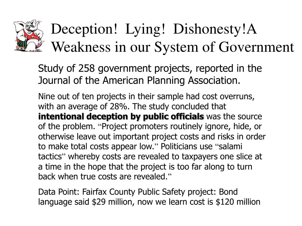 Deception!  Lying!  Dishonesty!A Weakness in our System of Government