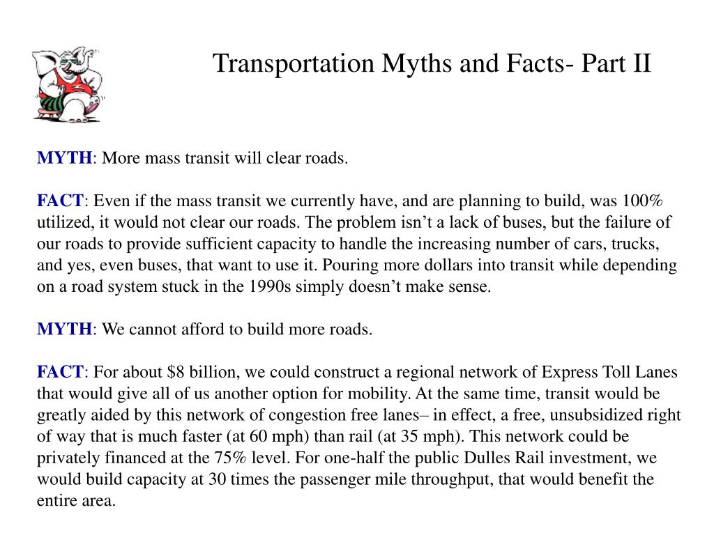 Transportation Myths and Facts- Part II