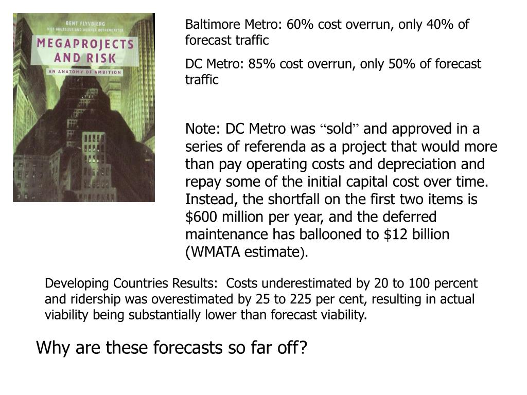 Baltimore Metro: 60% cost overrun, only 40% of forecast traffic