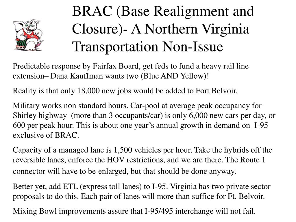 BRAC (Base Realignment and Closure)- A Northern Virginia Transportation Non-Issue