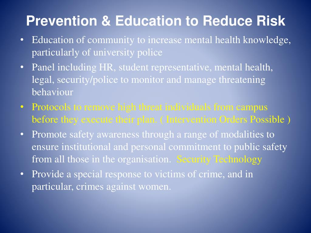Prevention & Education to Reduce Risk