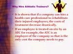 why hire athletic trainers