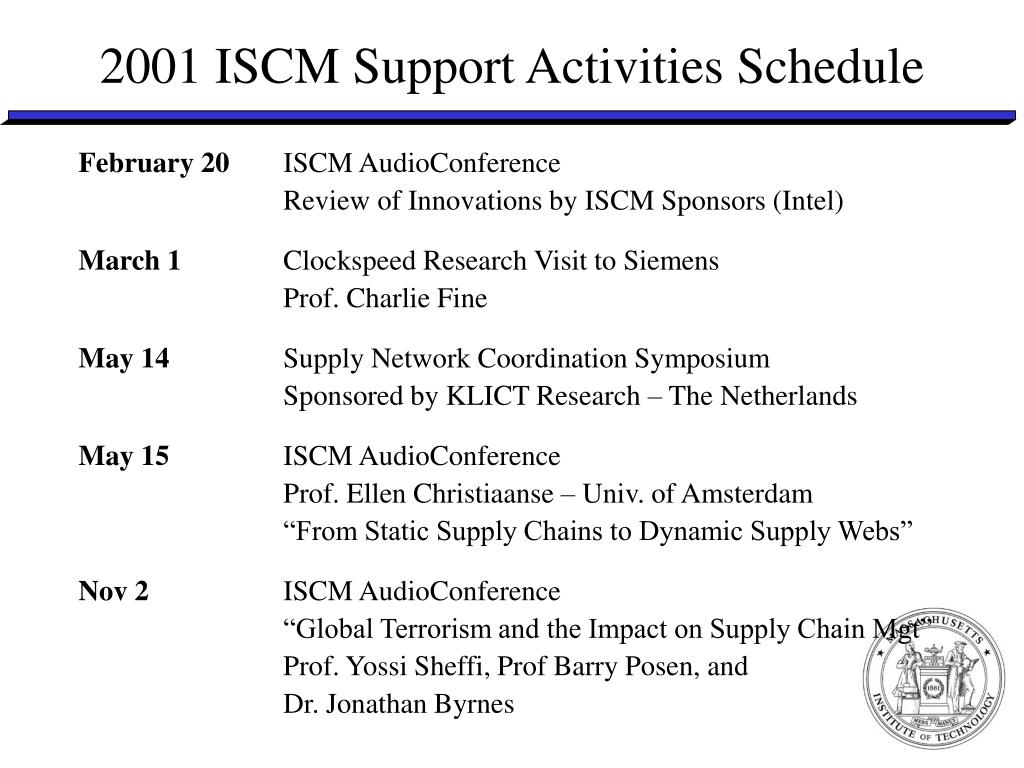 2001 ISCM Support Activities Schedule