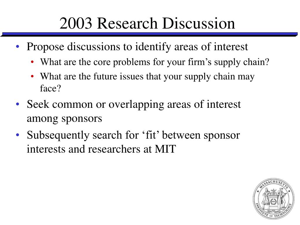 2003 Research Discussion