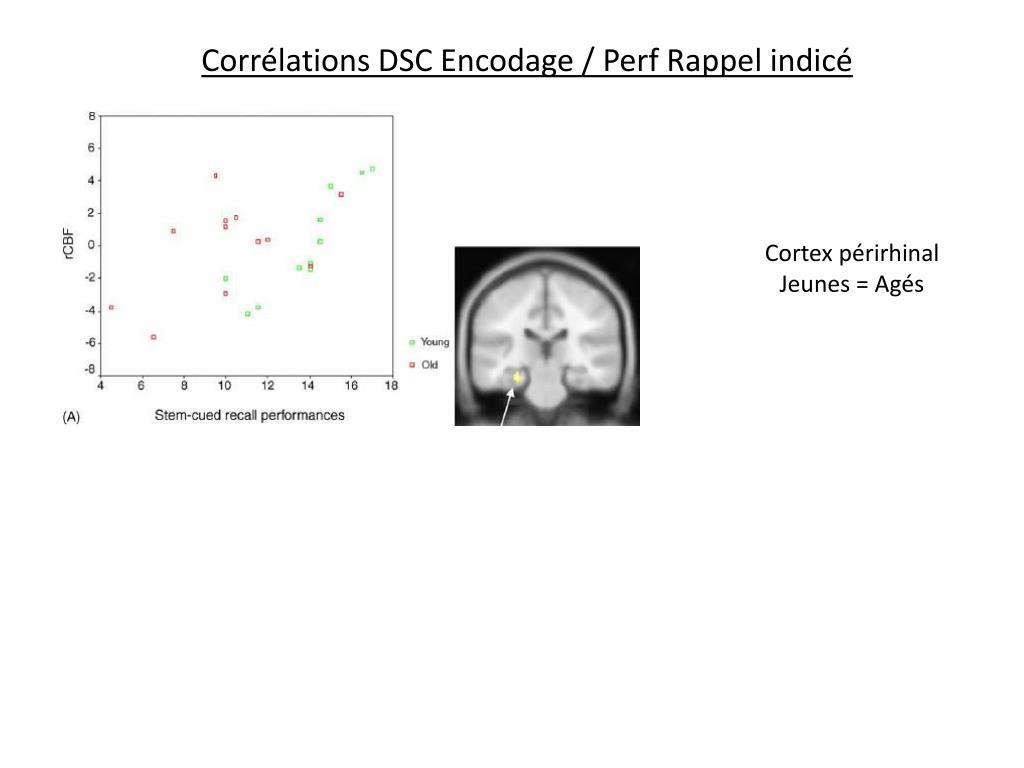 Corrélations DSC Encodage / Perf Rappel indicé