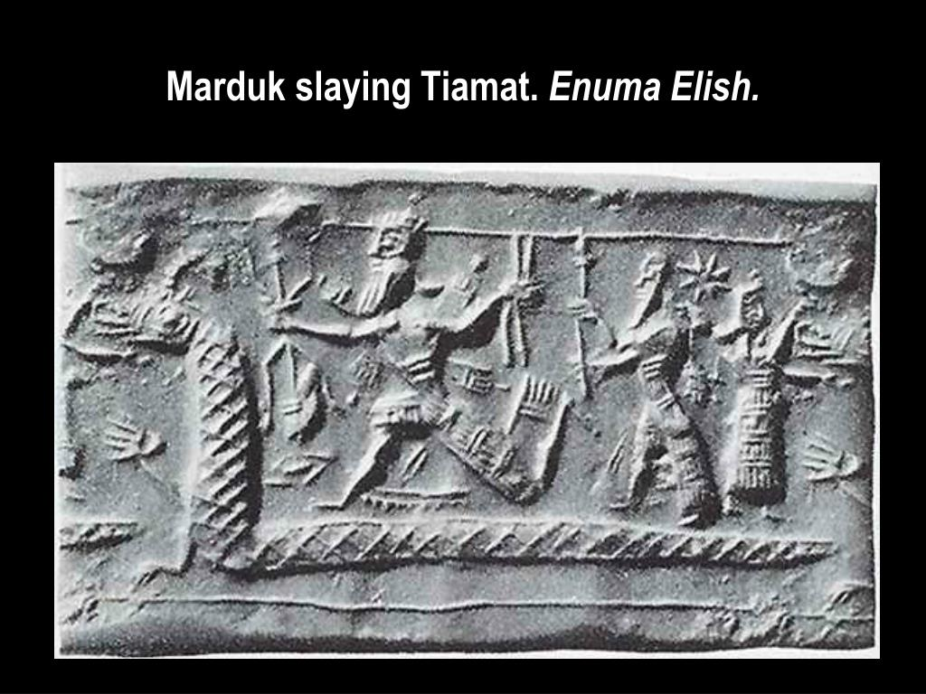 Marduk slaying Tiamat.