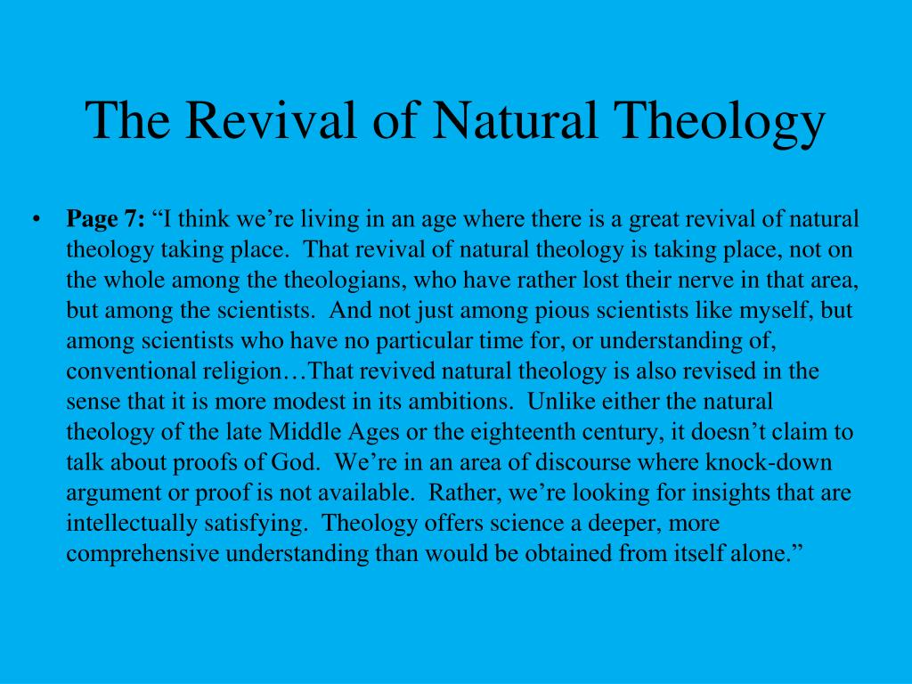 The Revival of Natural Theology