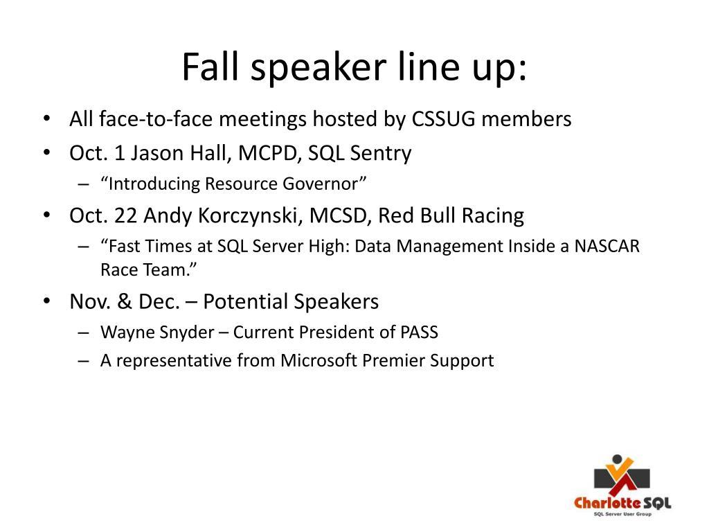 Fall speaker line up: