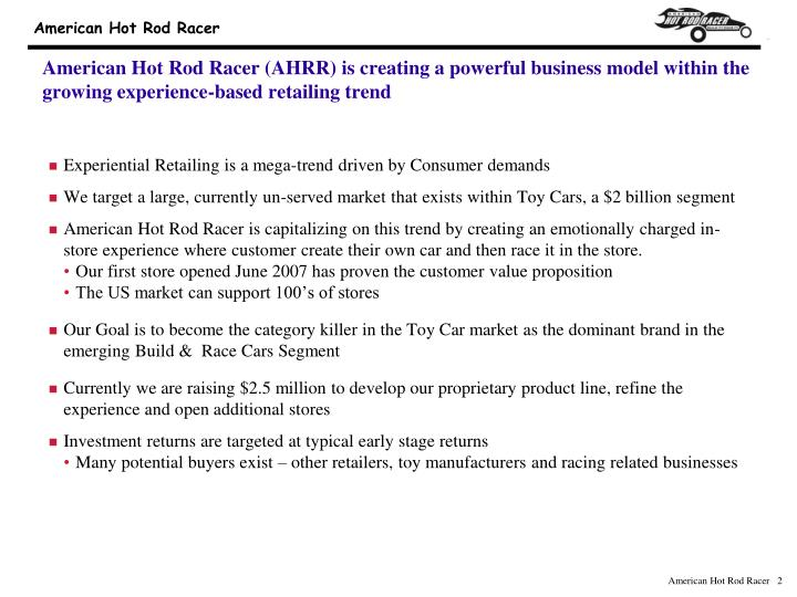 American Hot Rod Racer (AHRR) is creating a powerful business model within the growing experience-ba...