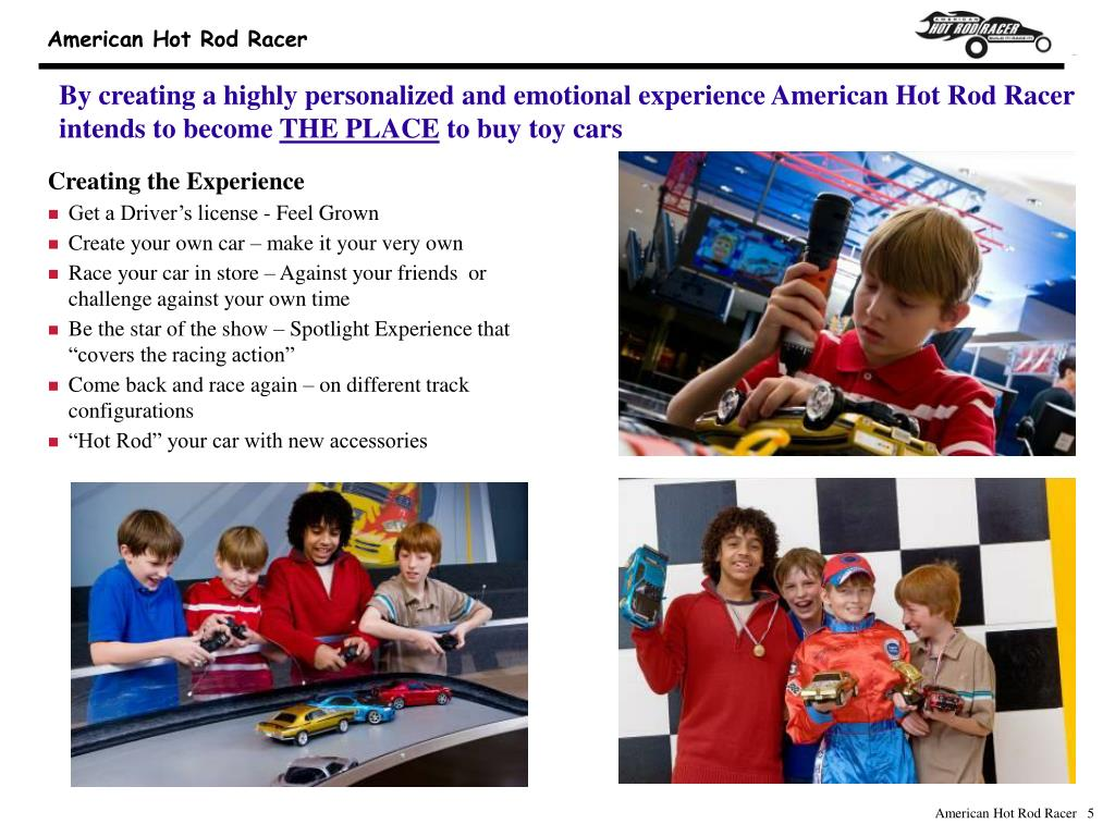 By creating a highly personalized and emotional experience American Hot Rod Racer intends to become