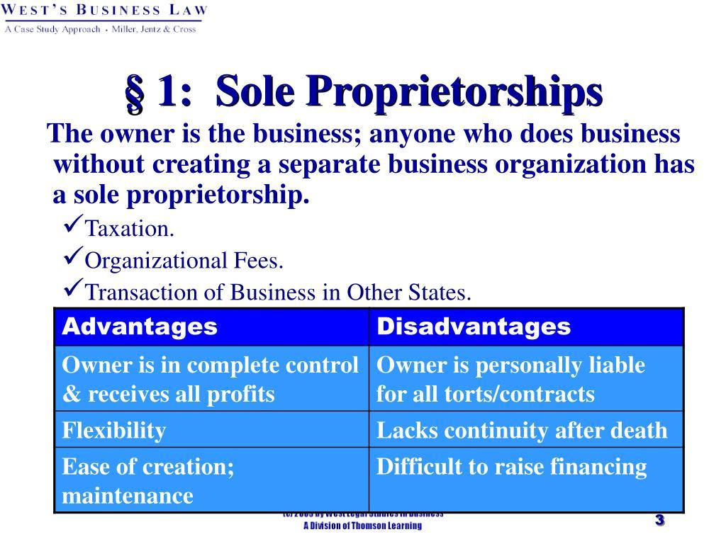 § 1:  Sole Proprietorships