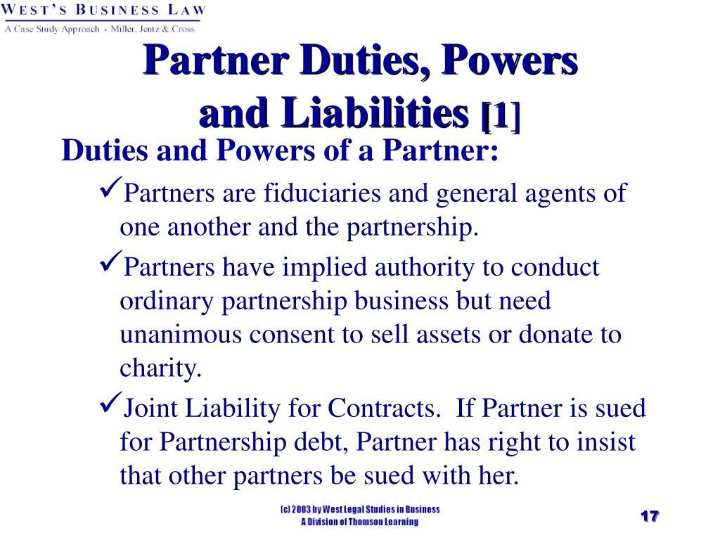 Partner Duties, Powers