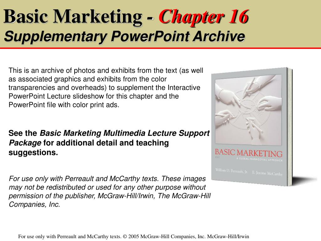 basic marketing chapter 16 supplementary powerpoint archive l.