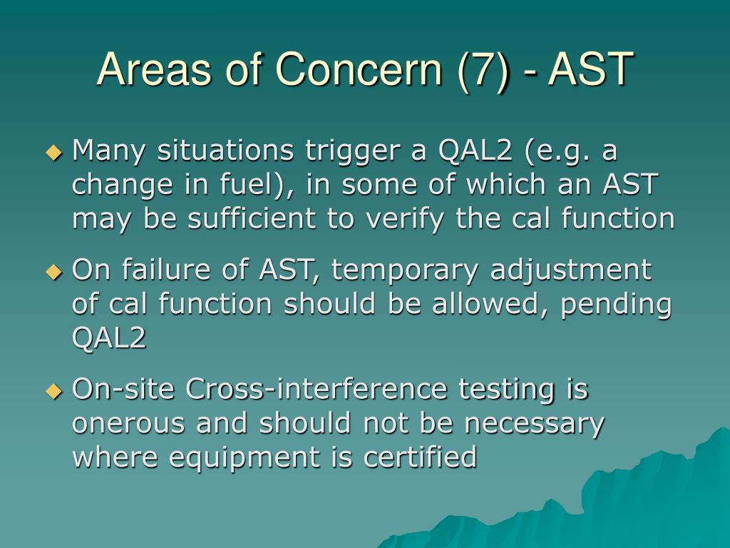 Areas of Concern (7) - AST