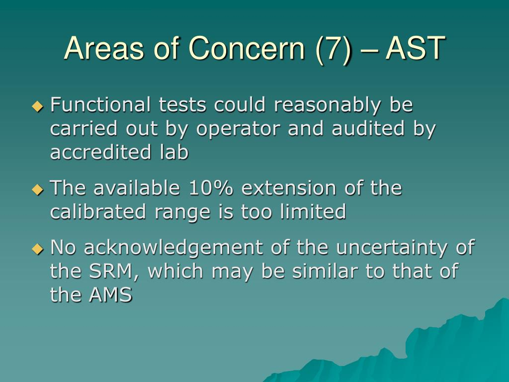 Areas of Concern (7) – AST