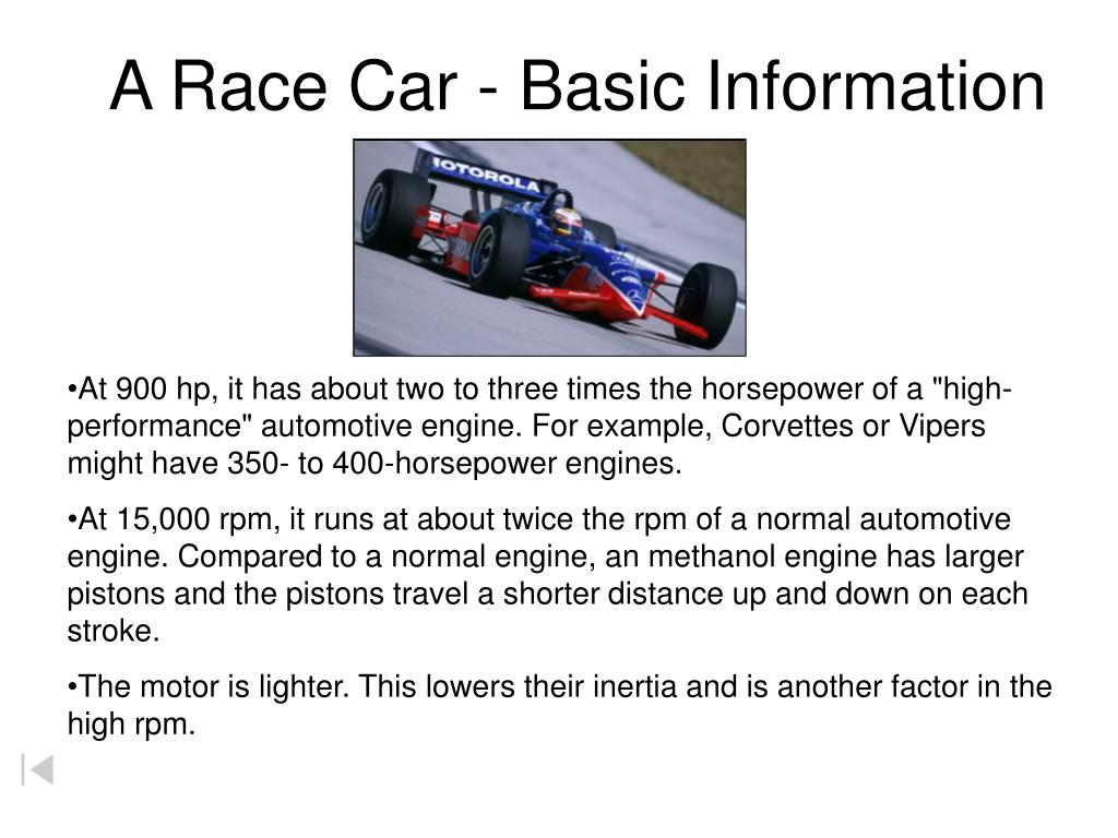 A Race Car - Basic Information