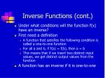 inverse functions cont