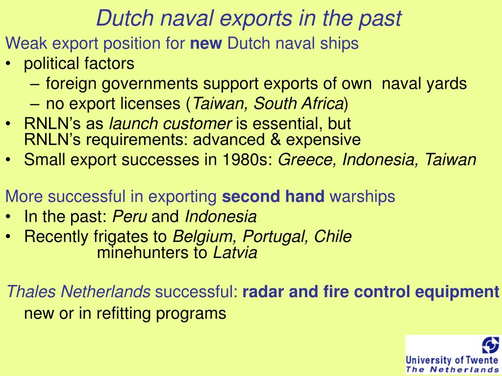Dutch naval exports in the past