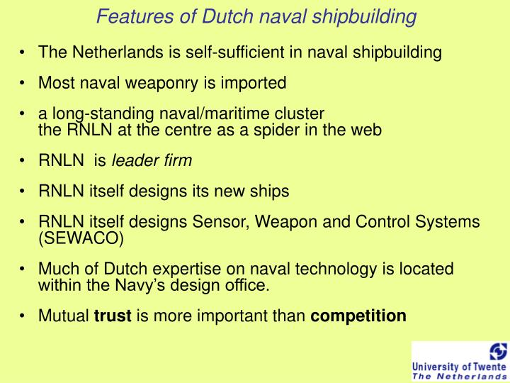 Features of dutch naval shipbuilding