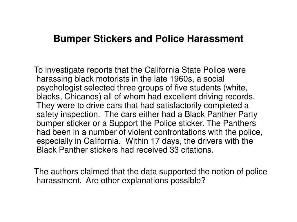 Bumper Stickers and Police Harassment
