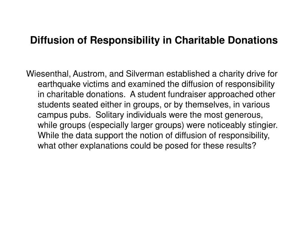 Diffusion of Responsibility in Charitable Donations