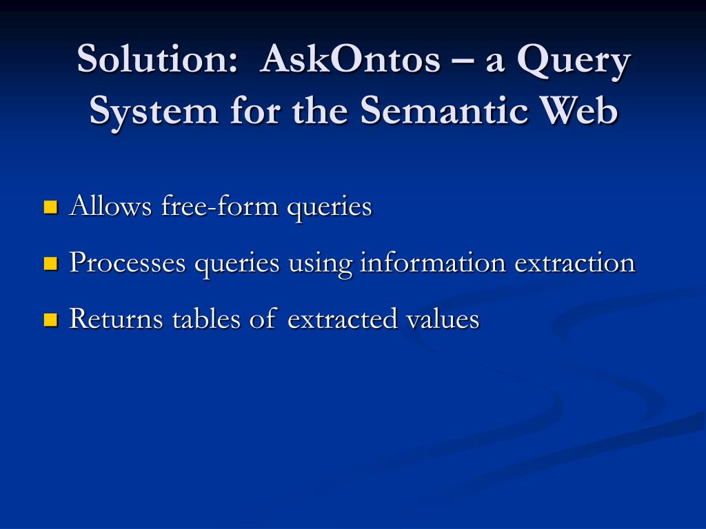 Solution:  AskOntos – a Query System for the Semantic Web