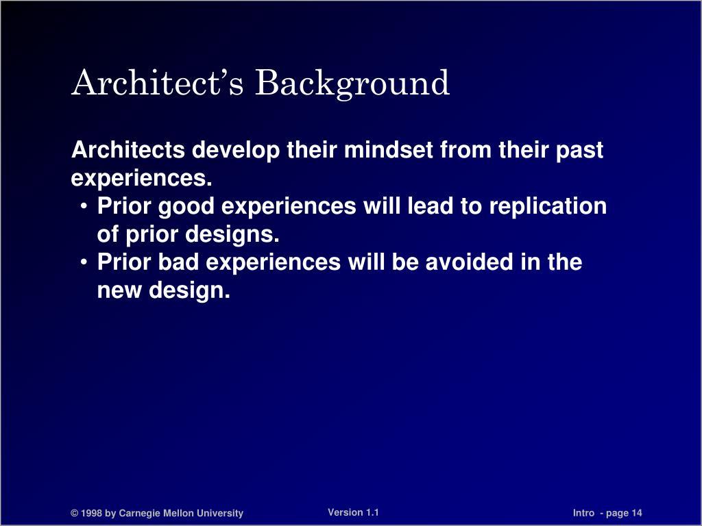 Architect's Background