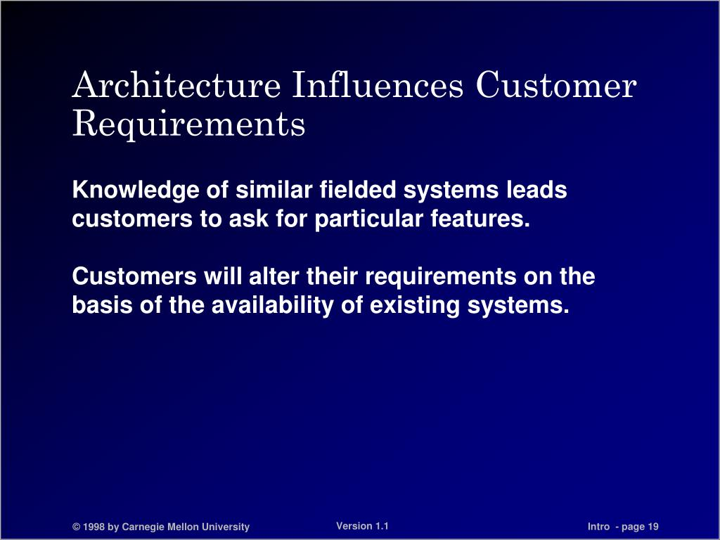 Architecture Influences Customer Requirements