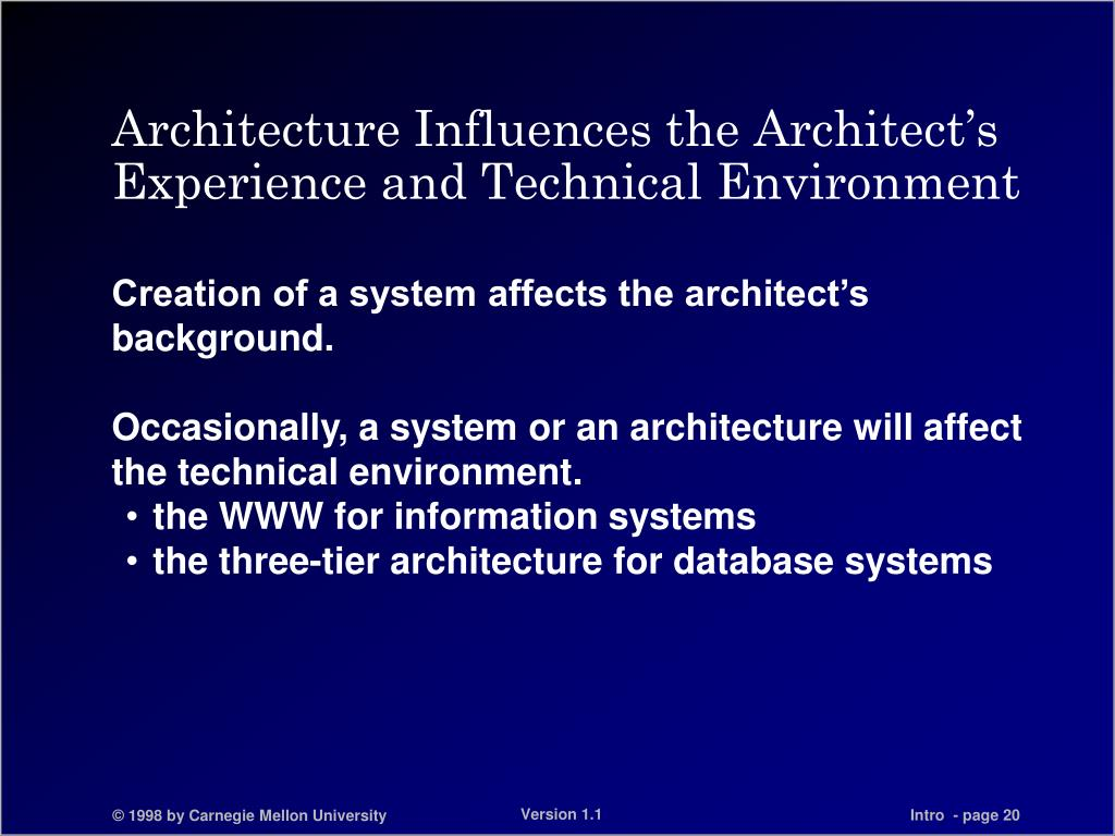 Architecture Influences the Architect's Experience and Technical Environment