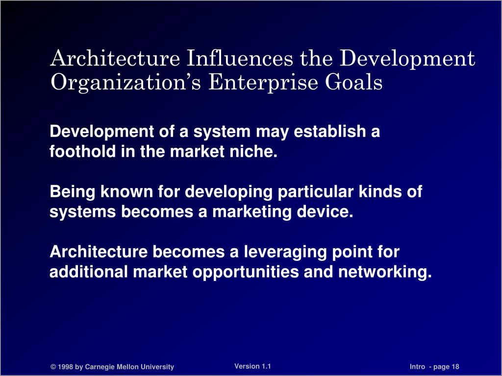 Architecture Influences the Development Organization's Enterprise Goals