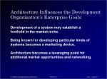 architecture influences the development organization s enterprise goals