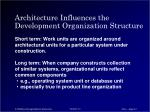 architecture influences the development organization structure