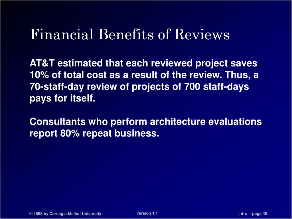 Financial Benefits of Reviews