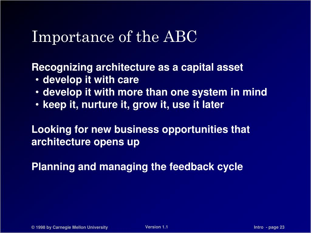 Importance of the ABC