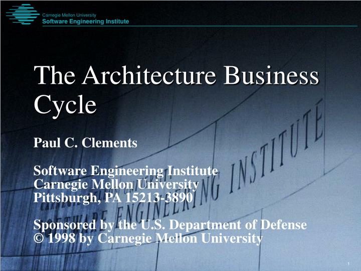 The architecture business cycle