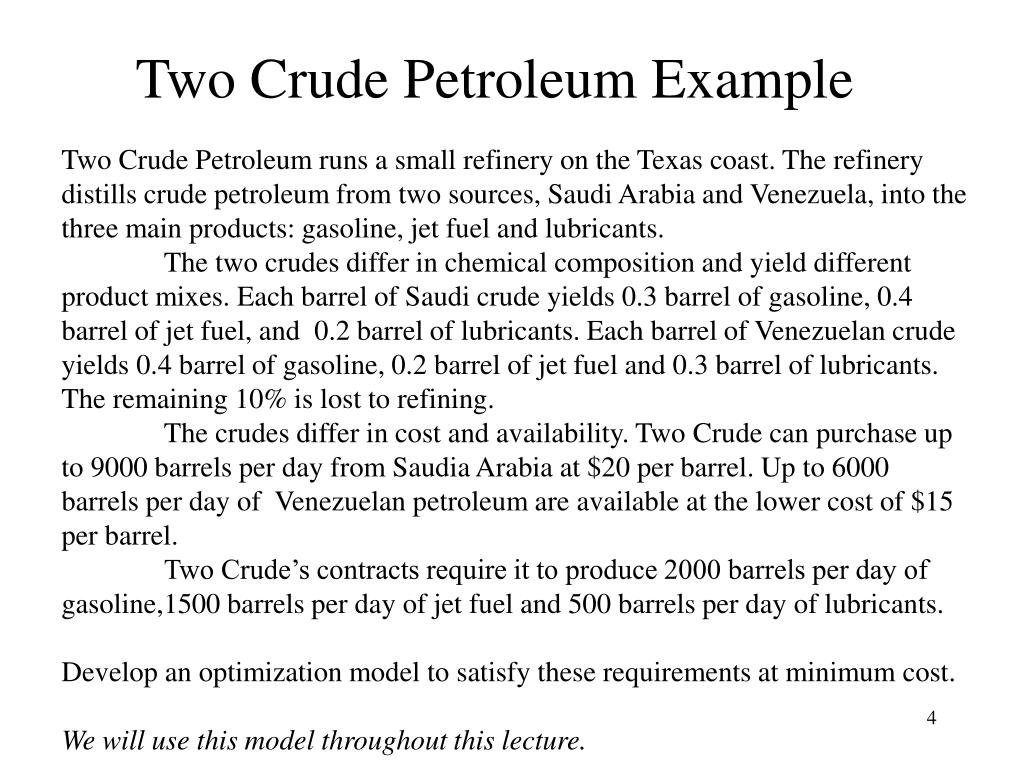 Two Crude Petroleum Example