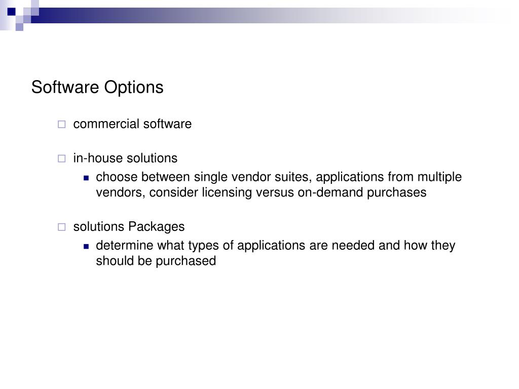 Software Options