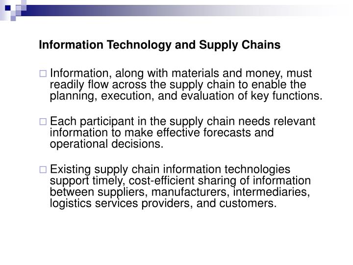 Information Technology and Supply Chains