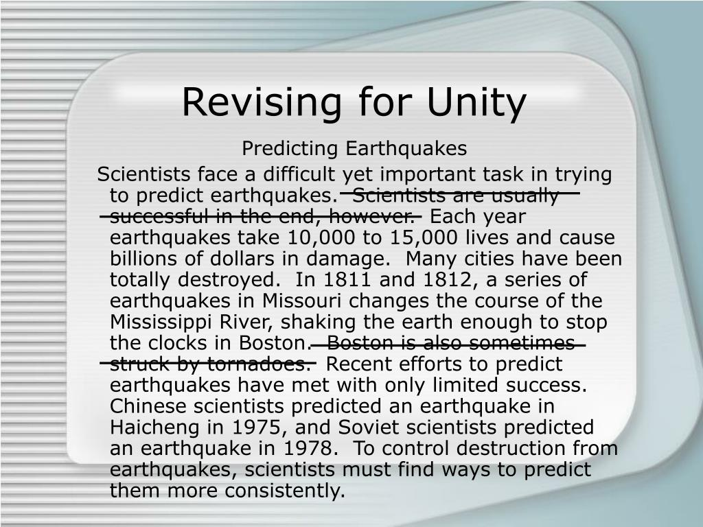 Revising for Unity