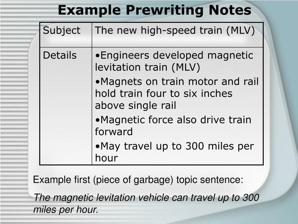 Example Prewriting Notes